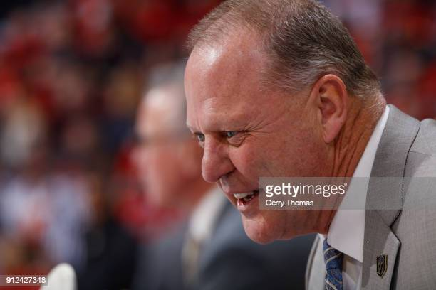 The Vegas Golden Knights Head Coach Gerard Gallant in an NHL game on January 30 2018 at the Scotiabank Saddledome in Calgary Alberta Canada