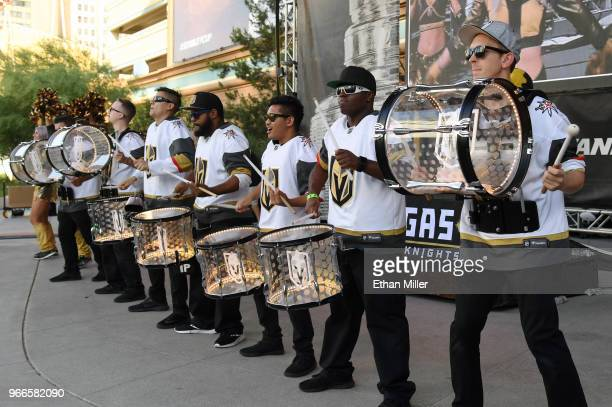 The Vegas Golden Knights Knight Line Drumbots perform at a Golden Knights road game watch party for Game Three of the 2018 NHL Stanley Cup Final...