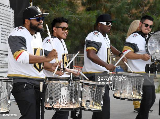 The Vegas Golden Knights Knight Line Drumbots perform at a Vegas Golden Knights road game watch party for Game Three of the 2018 NHL Stanley Cup...