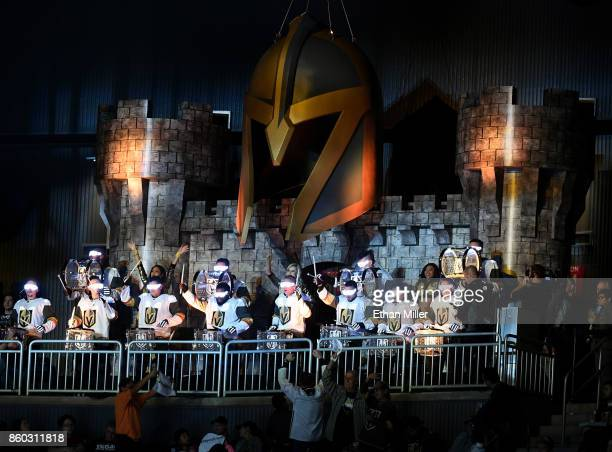 The Vegas Golden Knights Knight Line Drumbots performs during the Golden Knights' inaugural regularseason home opener against the Arizona Coyotes at...