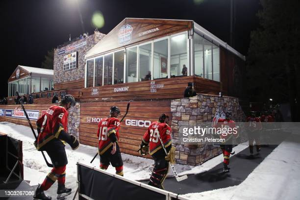 The Vegas Golden Knights leave the rink following a 3-2 loss to the Colorado Avalanche during the NHL Outdoors at Lake Tahoe at the Edgewood Tahoe...