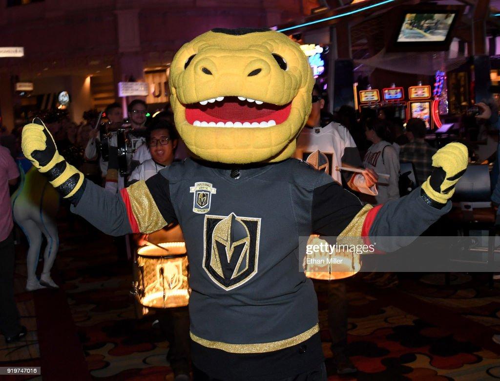 90488bea4c2a The Vegas Golden Knights mascot Chance the Golden Gila Monster ...