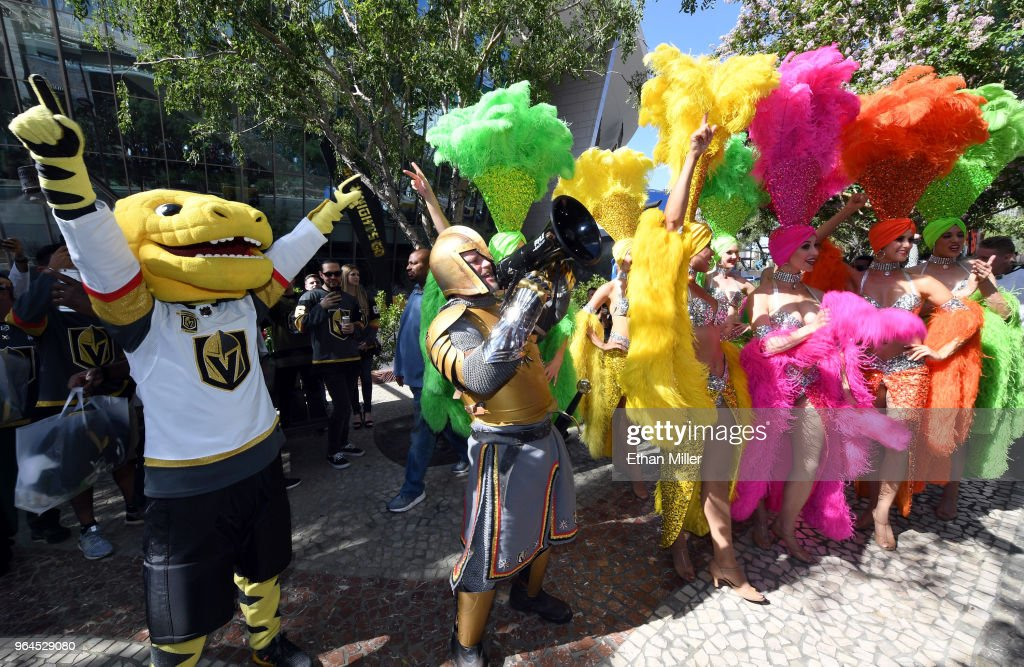 e1144ac2c9cf The Vegas Golden Knights mascot Chance the Golden Gila Monster, Lee ...