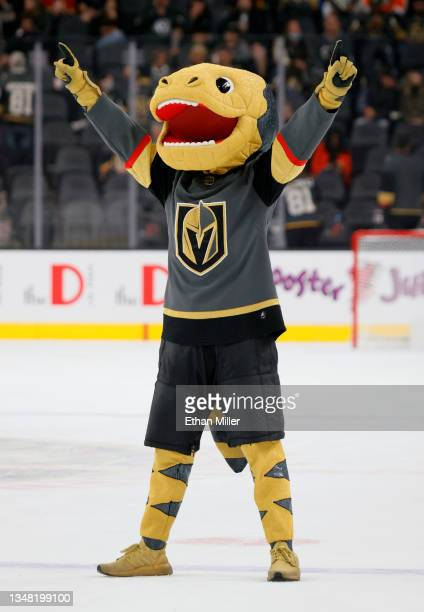 The Vegas Golden Knights mascot Chance the Golden Gila Monster stands on the ice between periods of a game between the Golden Knights and the...
