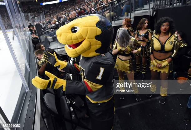 The Vegas Golden Knights mascot Chance the Golden Gila Monster watches the action in the first period as the Golden Knights take on the Buffalo...