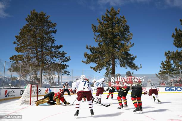 The Vegas Golden Knights skate against the Colorado Avalanche during the NHL Outdoors at Lake Tahoe at the Edgewood Tahoe Resort on February 20, 2021...