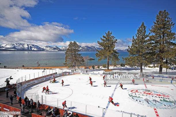 The Vegas Golden Knights skate in warm-ups prior to the game against the Colorado Avalanche during the NHL Outdoors at Lake Tahoe at the Edgewood...