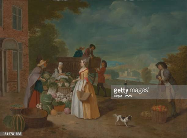 The Vegetable Seller, Pieter Angillis, 1685–1734, Flemish, active in Britain , between 1725 and 1728, Oil on canvas, Support : 32 1/2 × 43 3/4 inches...