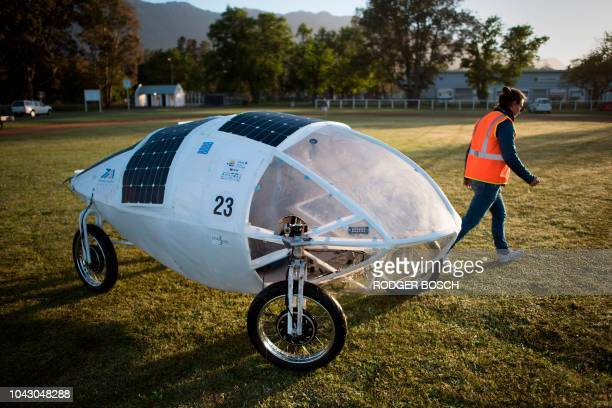 The vehicle from the Cape Peninsula University of Technology stands before the start of the 8th and the final day of the Sasol Solar Challenge on...