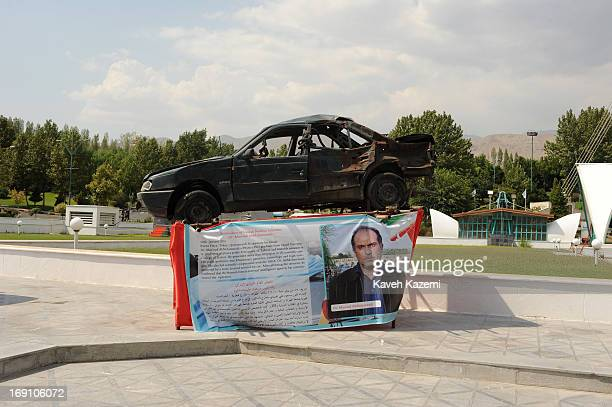 The vehicle of Dr Masoud AliMohammadi one of Iran's assassinated nuclear scientist with scars of explosion which led to his death is exhibited in the...