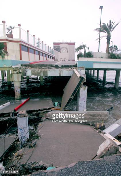 The vehicle ramp to the Flagship Hotel on Galveston Island in Texas is washed out on Sunday September 14 after Hurricane Ike passed over the Texas...