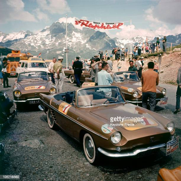 The Vehicles Essentially Renault Florides Of The Radio Station Europe 1 Parked At A Mountain Pass On The Circuit Of The Tour De France In 1962