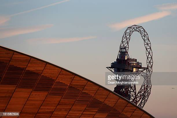 The Velodrome for Track Cycling and ArcelorMittal Orbit are pictured on day 10 of the London 2012 Paralympic Games at Eton Manor on September 8 2012...