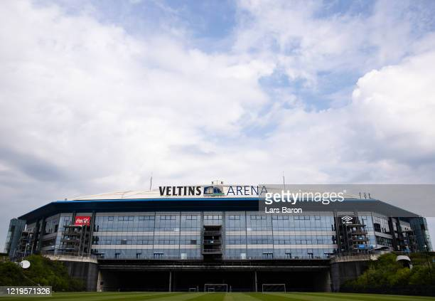 The Veltins Arena, home of Bundesliga club FC Schalke 04, is pictured on April 18, 2020 in Gelsenkirchen, Germany.