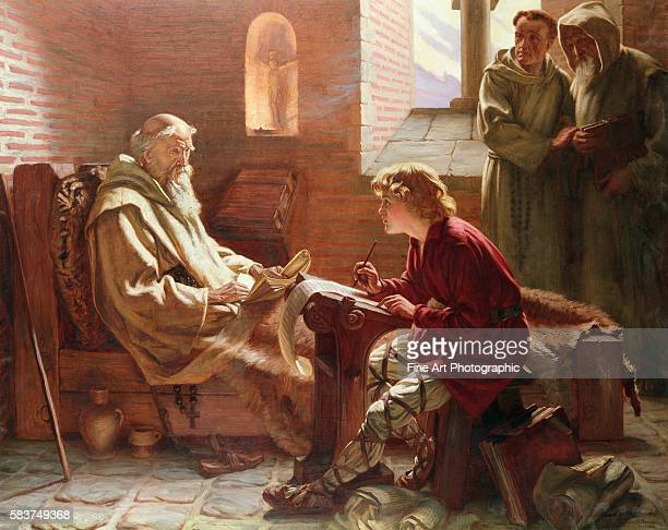 The Venerable Bede is seen here dictating as he translates the last chapter of St John's gospel into Anglo Saxon