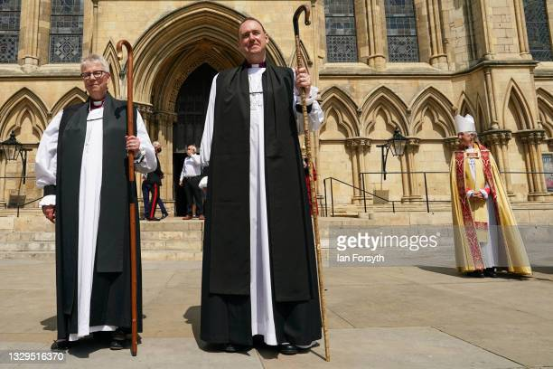 The Venerable Julie Conalty, currently Archdeacon of Tonbridge and the Reverend Canon Sam Corley, currently Rector of Leeds take part in a photo call...