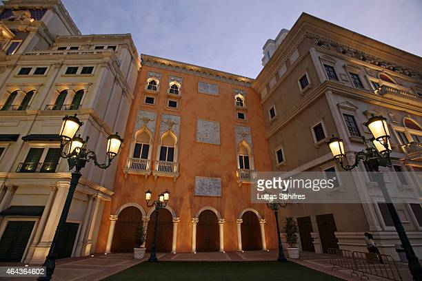 The Venetian casino stands on February 21 2008 in Macau China The Venetian MacaoResortHotel is a 163000 square foot casino featuring 405 slots and...