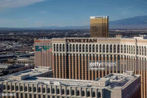 The Venetian Hotel Casino is viewed looking north from the High Roller Observation Ferris wheel on March 2 2018 in Las Vegas Nevada Millions of...