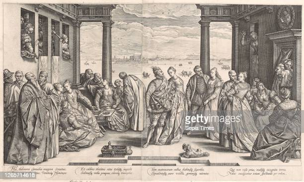 The Venetian Wedding copperplate engraving , on two sheets, paper glued together, plate: 43.8 x 74.1 cm  , Leaf: 46.7 x 77.1 cm , U. M. L.,...