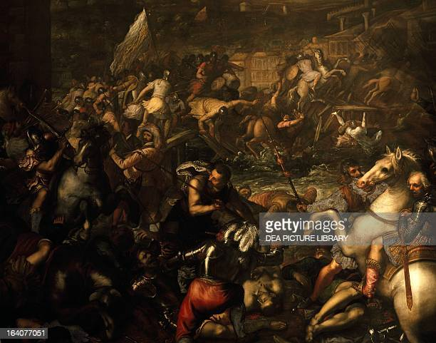 The Venetians led by Gattamelata conquer the city of Verona in 1439 oil painting Italy 15th century Venice Palazzo Ducale