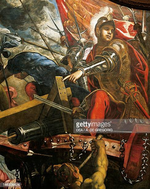 The Venetians take back Riva sul Garda from the Milanese troops by Jacopo Robusti, known as the Tintoretto . Detail. Sala del Maggior Consiglio ,...