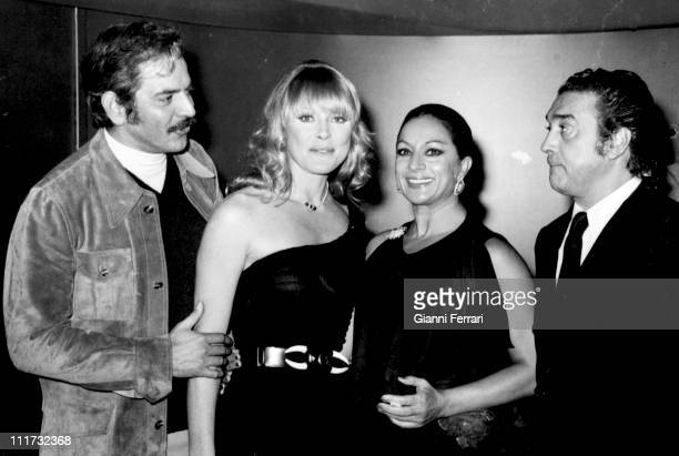 The venezolan actor and productor Spartaco Santoni the german actress Elke Sommer the spanish dancer Lola Flores and her husband Antonio Madrid Spain