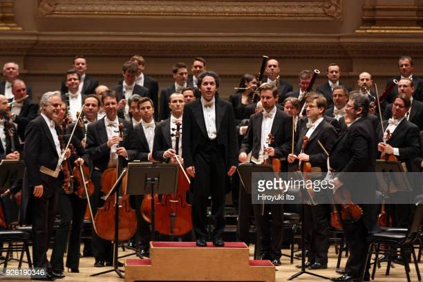 The Venezuelan conductor Gustavo Dudamel leads the Vienna Philharmonic Orchestra in Mahler's Adagio from 'Symphony No 10' at Carnegie Hall on...