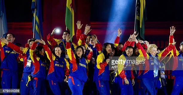 The Venezuelan delegation is seen at the closing ceremony of the 10th South American Games at the Moneda Presidential palace in Santiago on March 18...