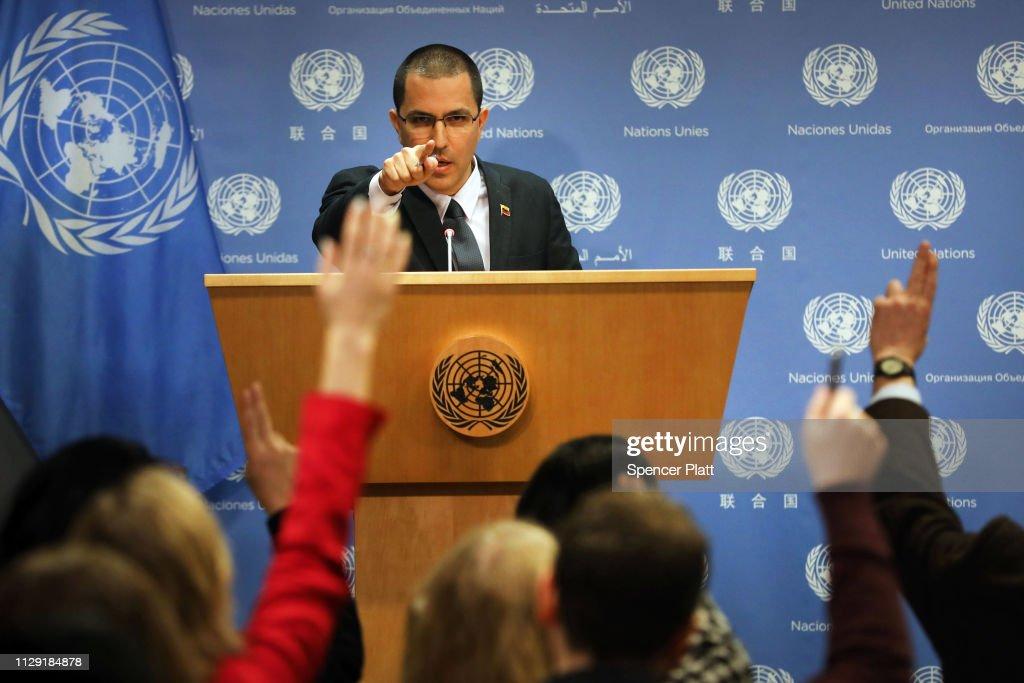 Venezuelan Foreign Minister Jorge Arreaza Holds Press Briefing At The U.N. : News Photo