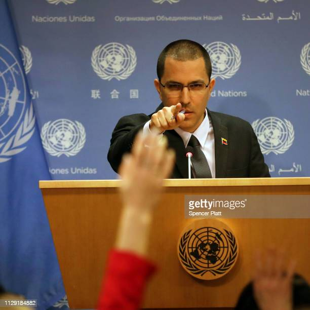 The Venezuelan Foreign Minister Jorge Arreaza speaks to the media at the United Nations on February 12 2019 in New York City The minister echoed...