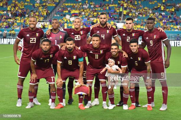 The Venezuelan National team poses before the start of the friendly match against Colombia at Hard Rock Stadium on September 7 2018 in Miami Florida