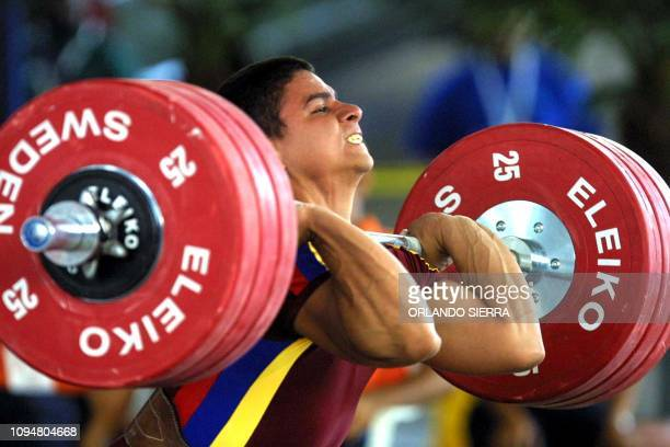 The Venezuelan Octavio Mejia who won a gold medal in the weightlifting 77kg competition of the XIX Central American and Caribbean Games in San...
