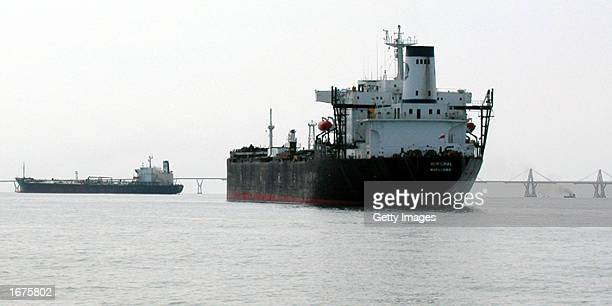 The Venezuelan oil tanker Morichal sits anchored as the crew refuses to make its deliveries during a general strike December 6 2002 in the Lake of...