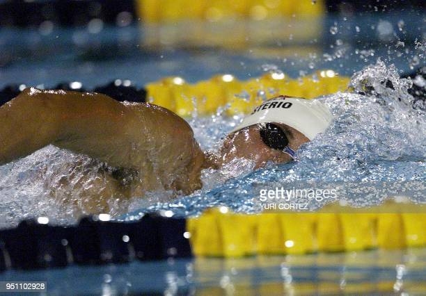 The Venezuelan Ricardo Monasterio competes 29 November 2002 in the 1500 meter freestyle swimming competition of the XIX Central American and...