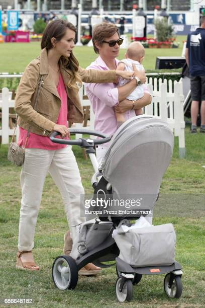 The Venezuelan singer Carlos Baute his wife Astrid Klisans and their son Markuss Baute attend the Global Champions Tour tournament on May 21 2017 in...