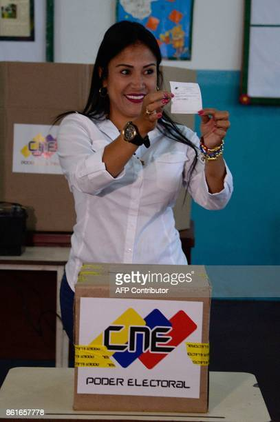 The Venezuelan's opposition candidate for governor for the state of Tachira Laidy Gomez votes at a polling station in San Cristobal Tachira during...
