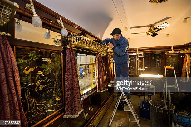 The Venice Simplon Orient Express train is refurbished at the Construction Shops Centre in ClermontFerrandFrance The train refurbished from cars from...