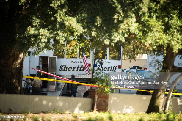 The Ventura County Sheriff investigate a mass shooting at the Borderline Bar and Grill in Thousand Oaks on Thursday, November 8, 2018. Authorities...