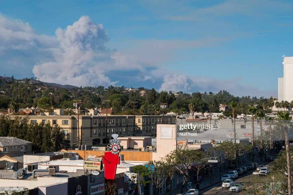 The Ventura Fire, burning in Agora Hills, as seen from Sherman Oaks