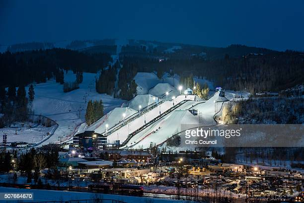 The venue at the Winter X Games 2016 Aspen at Buttermilk Mountain is lit up on the evening of January 30 in Aspen Colorado