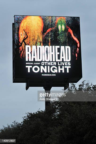 The venue signage for Radiohead's performance at The Frank Erwin Center on March 7 2012 in Austin United States