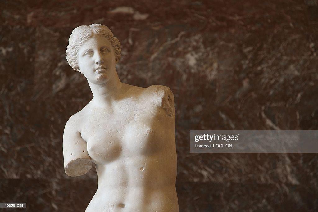 The Venus de Milo at the Louvre Museum back after restoration in Paris, France on July 9, 2009. : News Photo