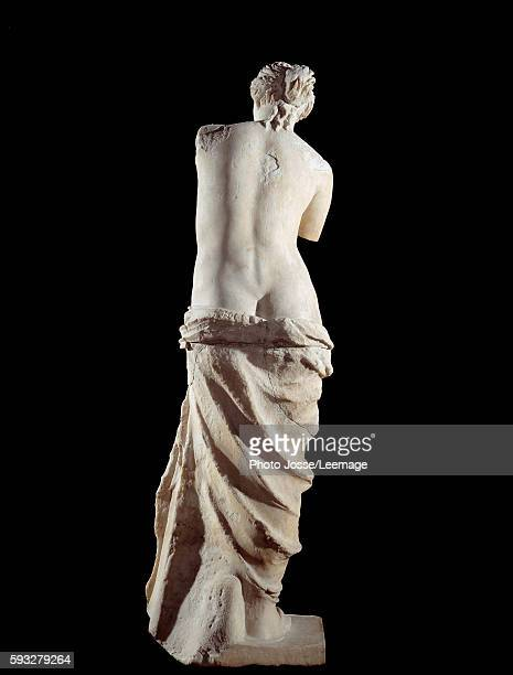 The Venus de Milo Detail of a marble sculpture of Aphrodite 100 BC 202 m Coming from the island of Milos in Greece Louvre Museum Paris