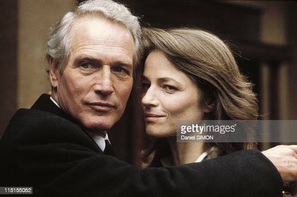 The verdict by Sidney Lumet on December 14 1982 Paul Newman and Charlotte Rampling on the set of the movie