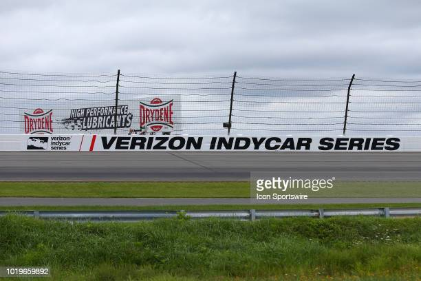 The Verizon Indycar Series logo on the wall in turn 3 during the IndyCar Series ABC Supply 500 on August 19 at Pocono Raceway in Long Pond PA