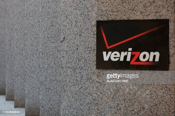 The Verizon logo is seen outside a building in Washington DC on July 9 2019