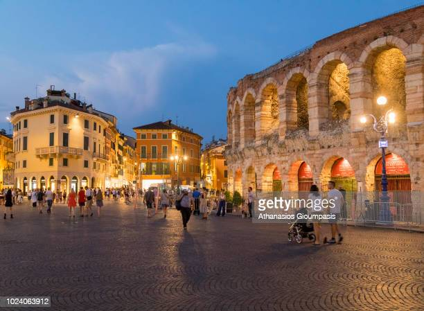 The Verona Arena illuminated at night on August 03 2018 in Verona Italy The Verona Arena is a Roman amphitheatre in Piazza Bra in Verona It is still...