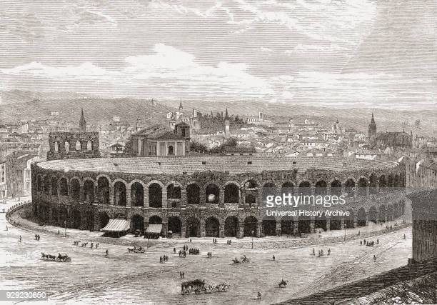The Verona Arena Piazza Bra Verona Italy in the late 19th century From Italian Pictures by Rev Samuel Manning published c1890