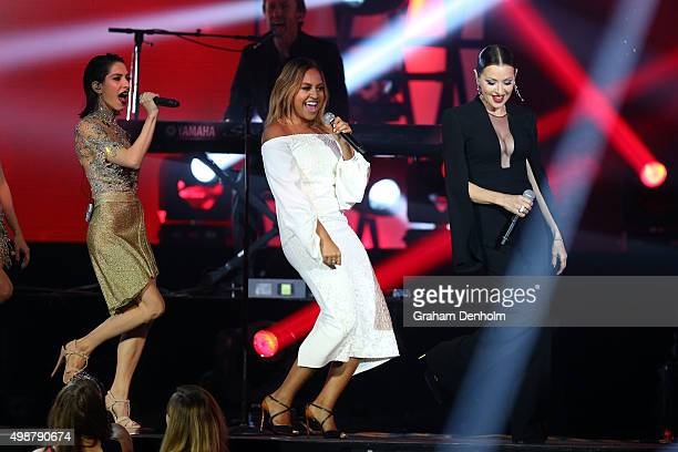 The Veronicas Jessica Mauboy and Tina Arena perform during the 29th Annual ARIA Awards 2015 at The Star on November 26 2015 in Sydney Australia