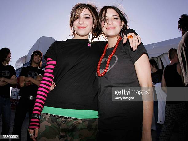 The Veronicas pose backstage at the Teen Vogue Fashion Live event at the US Open of Surfing on July 28 2005 in Huntington Beach California